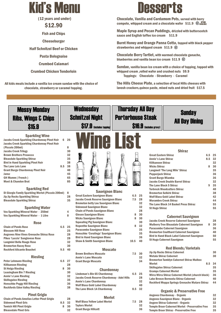 Bar Menu 2017 page 2
